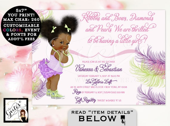 Pink Purple and Lime Green Baby Shower Invitation African