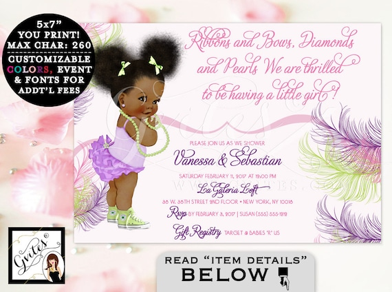 Great Pink Purple And Lime Green Baby Shower Invitation, African American Girl,  Ruffles, Diamonds And Pearls. Afro Puffs. Gvites