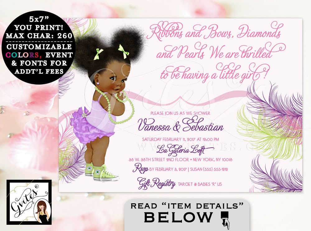 Pink Purple and Lime Green Baby Shower Invitation, African American ...