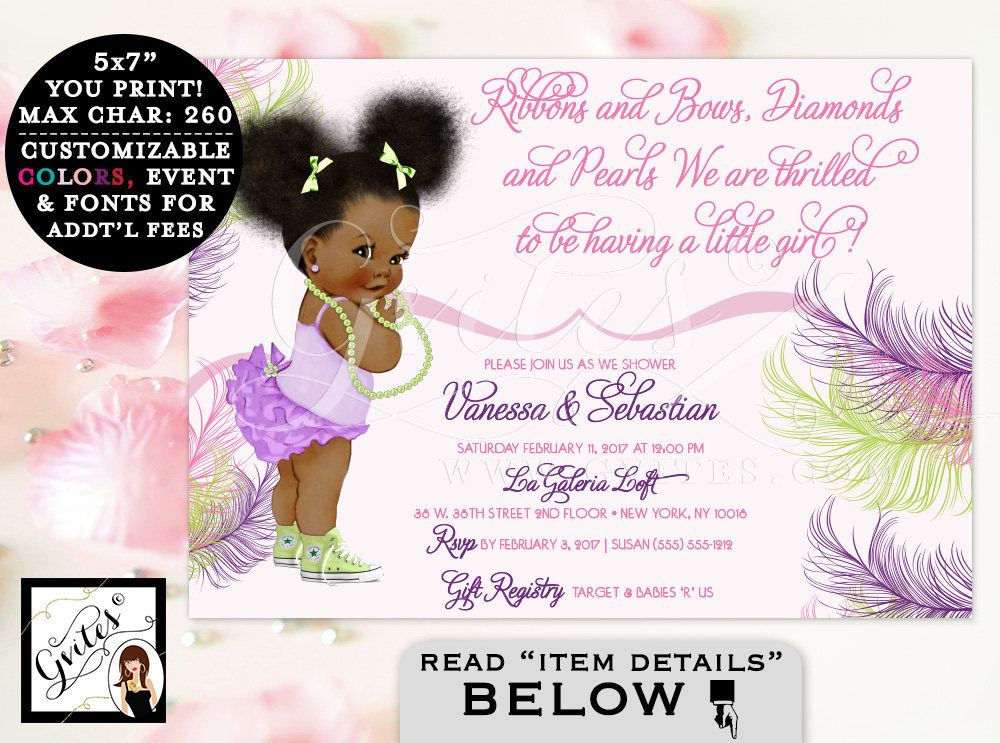 Pink Purple and Lime Green Baby Shower Invitation, African ...