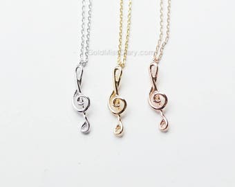 vertical Treble clef necklace, Music note necklace, Music Necklace, Piano Jewelry, cute necklace, dainty necklace, birthday gift
