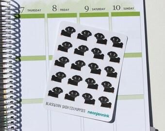 Black & Tan Shih-Tzu Puppy Stickers (Set of 20 Stickers)
