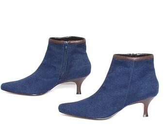 size 10 CHELSEA denim blue 80s 90s KITTEN HEEL zip up ankle boots
