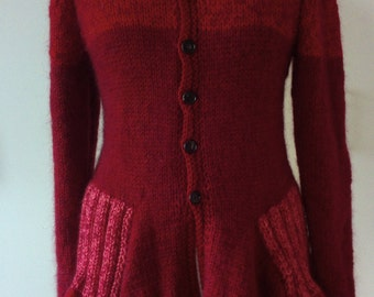 Reduced cardigan ready 38/40 knitted Red Hood mohair