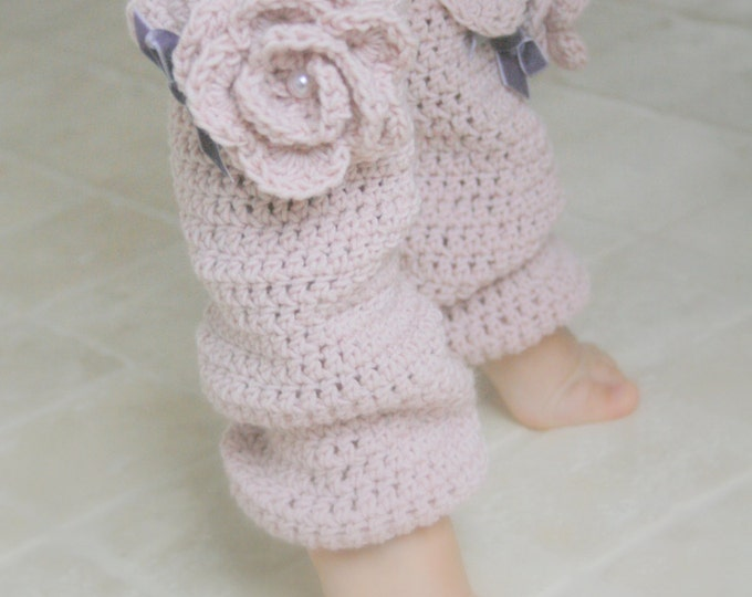 CROCHET  PATTERN romantic leg warmers Sandy with flower (newborn to child sizes)