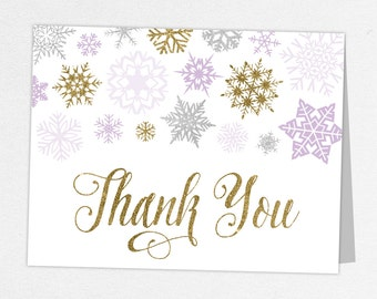 Little Snowflake Thank You Card, Baby Shower Thank You Card, Baby Thank You Card, Girl Baby Shower, Winter Shower, Gold, Glitter, Pink, DIY