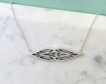 Elf Deco Cutout Design Sterling Silver Bar Style Necklace, Abstract design, tear drop shape, marquise, Elvish inspired, Art Deco Inspired