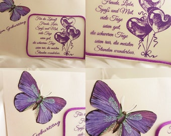 Purple Butterfly Birthday Greeting Card