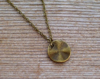 Minimalist Necklace, Brass Disc Necklace, Antiqued Brass Pendant Necklace, Modernist Necklace, Modernist Brass, Everyday Necklace