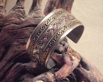 Tribal braid bracelet cuff - silver brass copper braided - ( free shipping sale )