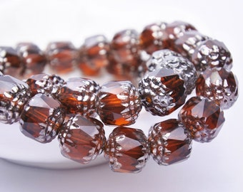 Czech glass beads-Cathedral beads-8mm-Red brown silver-15 pcs
