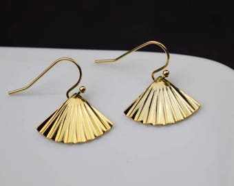gold earring fan drop earring simple earrings everyday/gift for her