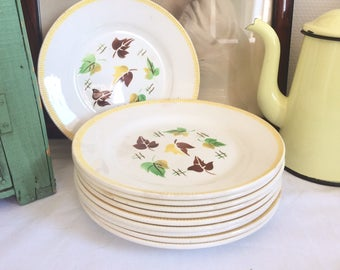 Set of 10 plates Digoin Sarreguemines, pattern Sirocco. 40-50 years.