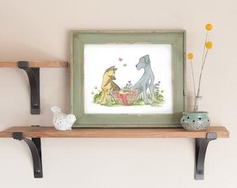 German Shepherd Art, Great Dane Art, Dog Nursery Art, Nursery Print, Children's Art, Baby Boy Nursery, Baby Girl Nursery, Dog Lover Gift