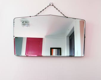 Vintage Art Deco beveled edge frame-less mirror with original hanging chain. Beautiful  shape!