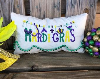 Mardi Gras Upcycled Sailcloth Pillow with Hand-Sewn Mardi Gras Beads