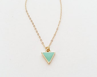 Turquoise Triangle Necklace 14kt Gold // Geometric Jewelry // Simple Everyday Jewelry // Green Blue Triangle