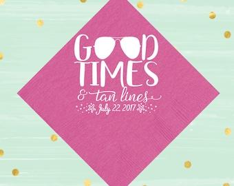 Good Times & Tan Lines, Custom Napkins, Beach Party, Wedding Favor, Bachelorette Decor, Shower Decoration, Party Napkins, Summer Party