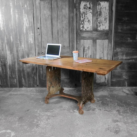 Industrial Dining Table Large Rustic Pine Cast Iron Metal Base