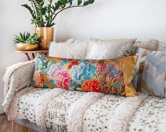 Floral Bolster Pillow, Long Lumbar Pillow, Blue Velvet Kimono Window Seat Cushion, Gold Vintage Silk Cushion Unique Wedding Gift for Couples