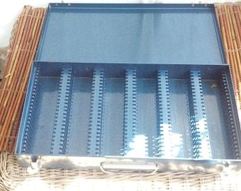 Vintage Blue Metal Slide Storage Box
