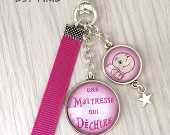 Porte-clés bijou de sac *Une maîtresse qui déchire*, cadeau maîtresse, fin d'année,  rose,REF:118