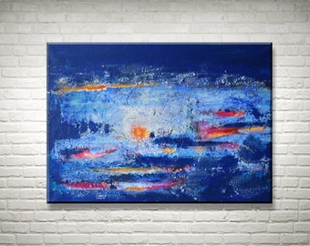 Original Abstract Painting Large, Texture Painting Modern, Texture Picture Blue, Acrylic on Canvas, Abstract Art, Acrylic Painting, Sunset