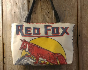 Vintage Red Fox flour sack upcycled