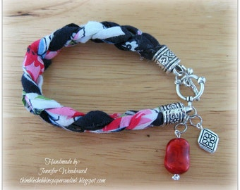 Braided Vintage Handkerchief Bracelet in Navy Blue and Red Floral with Red Bead and Silver Charm