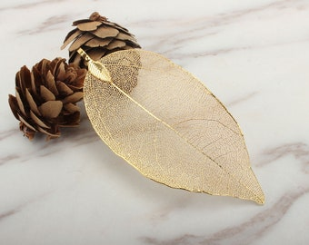 Real Natural Leaf Pendant, 18K Leaf Necklace Jewelry