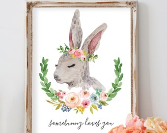 Rabbit Print, Bunny Nursery Art Print, Bunny Print with Flowers, Flower Crown Bunny, Boho Bunny Decor, Woodland Animal Nursery for Girl,
