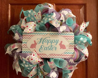 Easter Wreath, Happy Easter, Pastel Colors Wreath, Bunny Wreath, Easter Decor, Easter Eggs
