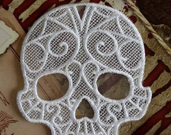 UK White gothic lace skull applique, trimming, choker centerpiece, cuff, fascinator hand made