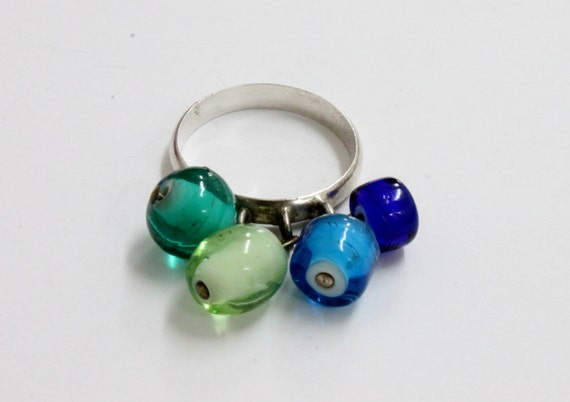 925 SILVER RING with Blue and Green Stones, Vintage Silver Ring,  Playfull Silver Ring