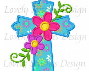 Easter Flower Cross Applique Machine Embroidery Design NO:0673