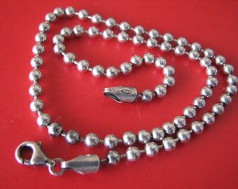 4mm Ball Chain 30 inch Necklace 925 Sterling Silver with Lobster Clasp