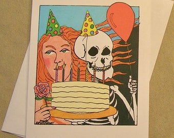 Grateful dead card etsy grateful dead birthday card lady and skeleton regular size and mini version m4hsunfo Choice Image