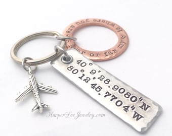 GPS Key Chain - Longitude/Latitude Key Ring - Father's Day - Grandfather Gift - Family Key Chain - Important Location Reminder Key Ring