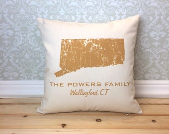 Connecticut Pillow, State Pillow, Personalized  State Pillow, Family Name Pillow, Custom State Pillow, Connecticut Gift, Housewarming Gift