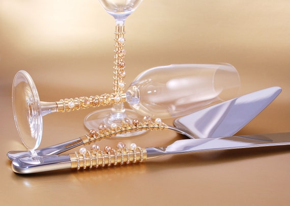 Wedding Cake Server Set And Crystal Toasting Flutes Hand Beaded In Swarovski Pearls Glass Choose Your Colors