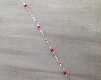 Pink fuchsia and Crystal chain anklet