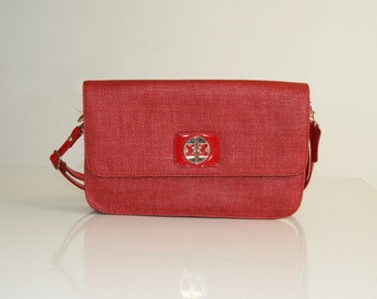 SALE / MAX MORETTI  red handbag with a long strap/ Straw bag/ Lady purse