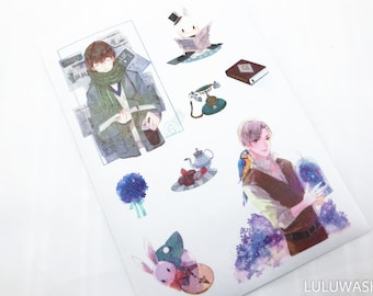 stickers - washi planner journal sticker no cut 1 sheet TN hobonichi filofax boy afternoon <TS02>