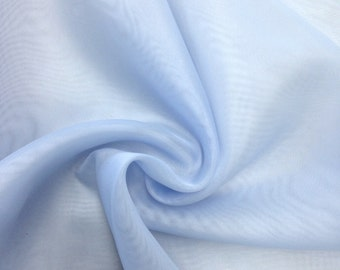 "Light Blue Sheer Voile Fabric 118"" Wide Curtain Drapery and Apparel per yard 100% polyester"