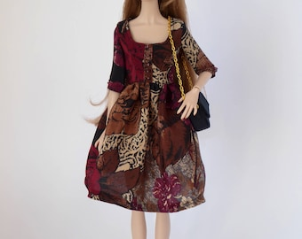 The Ophelia Dress in brown, cream and burgundy vintage fabric for Poppy Parker, Barbie Pivotal, New Silkstone or Model Muse