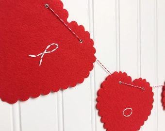 valentine red heart banner hand embroidery