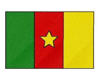 Buy 1 Take 1 Embroidery Design, Cameroon Flag Machine Embroidery Design, Instant Download, Fits 4x4 Hoop Size, 9 Formats