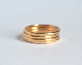 Four Gold Stacking Rings. Stackable Rings, Dainty Gold Ring, Midi Rings, Knuckle Rings, Hammered Ring, Stacking Ring Gold