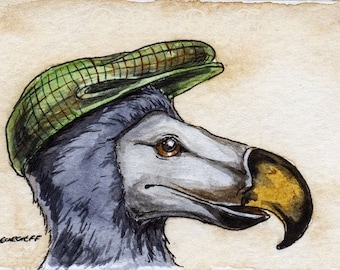 The Dodo~~ No 49  of 100 series- ~ signed watercolor print