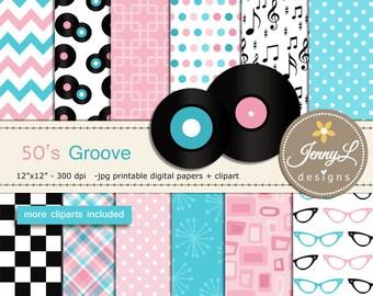 50's Retro Diner, Rock and Roll Digital Papers, LP Records, Guitar, Milkshake, eyeglasses, Musical Notes Cliparts  for Digital Scrapbooking
